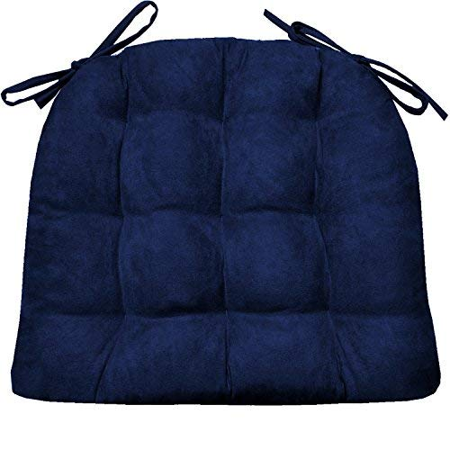 Barnett Dining Chair Pad with Ties - Microsuede Micro Fiber Ultra Suede - Reversible, Latex Foam Filled Cushion, Machine Washable (Standard, Royal Blue)