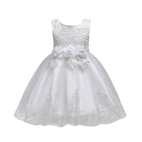 Moonker Gils DressFloral Baby Girl Sleeveless Princess Bridesmaid Pageant Gown Birthday Party Wedding Dress For 2 8 Years Old 4 5