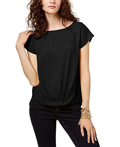 INC International Concepts I.N.C. Draped-Hem Top (Black, S) from I.N.C. International Concepts