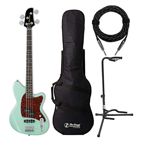 Ibanez TMB100 Talman Electric Bass Guitar (Mint Green) with Gig Bag, Stand and Knox Guitar Cable Bundle (4 Items)