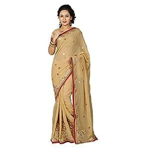 Shilp-Kala Chiffon Embroidered Beige Colored Saree SKMF1110