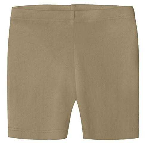 City Threads Big Girls Underwear Bike Shorts In All Cotton Perfect For SPD and Sensitive Skin Sports Dance School Uniform, Dark Khaki, 8