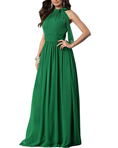 Roiii Women Cleb Prom Formal Casual Party Cocktail Wedding Evening Sleeveless High Waist Chiffon Plus Size Dress (Small, Green) - Halter Stretch Evening Gown