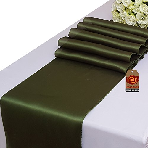 Parfair Dessin Pack of 10 Satin Table Runners 12 x 108 inch for Wedding Banquet Reception Party Decoration, Bright Silk and Smooth Fabric Party Table Runner - Olive Green (Olive Green Wedding)