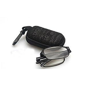 Travel Pocket Folding Reader Reading Glasses +2.00 Men Women Unisex Black Frame Flex Foldable Eyewear Eyeglasses w/ Clip Holder Zipper Case