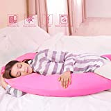 57'' Full Body Pregnancy Pillow, C-Shaped Maternity Pillow for Sleeping with Nursing Baby Design, w/Removable Cotton Cover (Pink)