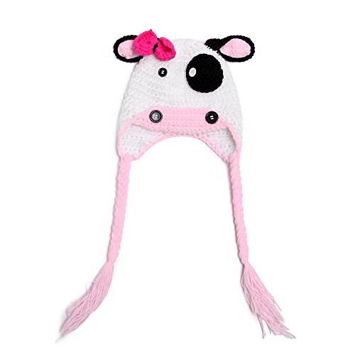 [Elee Baby Toddler Moo Moo Handmade Crochet Cow Hat Photography Props Hat Beanie] (Baby Cow Halloween Costumes)