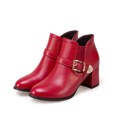 Heel Women's Head Short Belt Big Boots qin size Round Ankle Heels Shoes Block Buckle Red amp;X Platform qx5CfwA