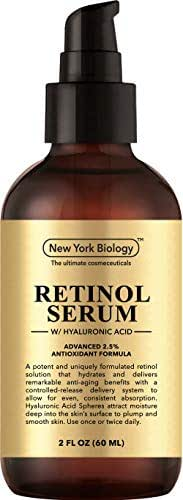 New York Biology Super Retinol Serum with Hyaluronic Acid - Professional Grade Anti Aging Face Serum For Wrinkles and Fine Lines - Huge 2 oz