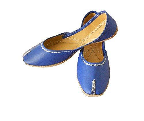 indische Kalra Blau Schuhe Damen Traditionelle Creations Faux Casual Leder 66zwtZxq