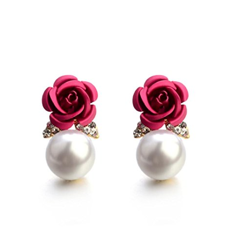 Paymenow Womens Girls Bohemia Earrings Fashion Summer Rose Pearl Circle Ear Clip Nice Jewelry (Hot Pink)