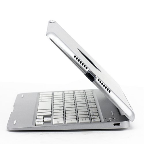 SUPERNIGHT 135 degree Rotate Wireless Bluetooth Keyboard Protective Aluminum Case Cover for Apple iPad Mini Tablet.(Aluminum base + plastic upper cover)Color:White