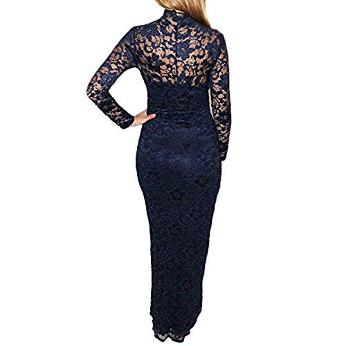 Kleid - SODIAL(R) Frauen Midi Kleid mit V-Ausschnitt Blumenspitze Bleistift Kleid Blau-XXL