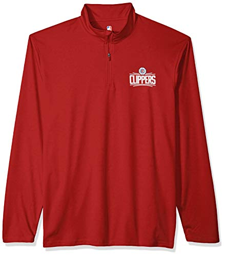 NBA Los Angeles Clippers Men's Quarter Zip Pullover Shirt Athletic Quick Dry Tee, Medium, Red