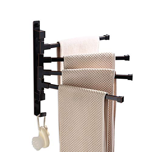 - ELLO&ALLO Oil Rubbed Bronze Towel Bars for Bathroom Wall Mounted Swivel Towel Rack Holder with Hooks 4-Arm