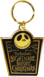The Nightmare Before Christmas - Jack Skellington's Head on Tombstone - Metal Keychain with Top Coating (Head Square Keys)