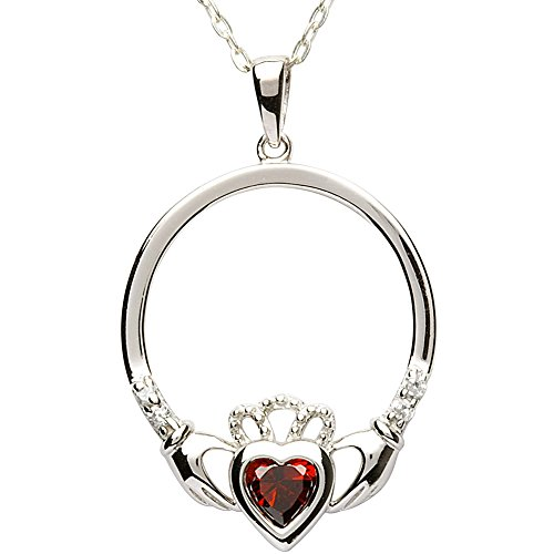 Garnet Claddagh Pendant (JANUARY Birth Month Sterling Silver Claddagh Pendant LS-SP91-1. Made in IRELAND.)