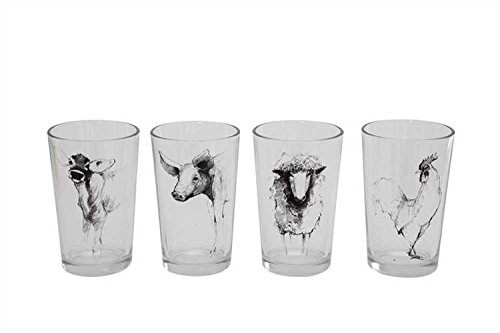 Farm Animal Decal Drinking Glasses/Votive Holders - Set of 4