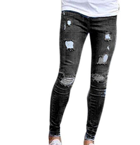 Pantalones Vaqueros de Hombre Pantalones Vaqueros Pitillo Desgastados Elásticos Destruidos Pantalones de Mezclilla Slim fit con Cinta Negro
