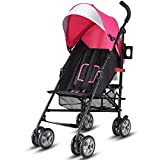 Costzon Lightweight Stroller, Aluminum Baby Umbrella Convenience Stroller, Travel Foldable Design with Oxford Canopy/ 5-Point Harness/Cup Holder/Storage Basket (Pink) For Sale