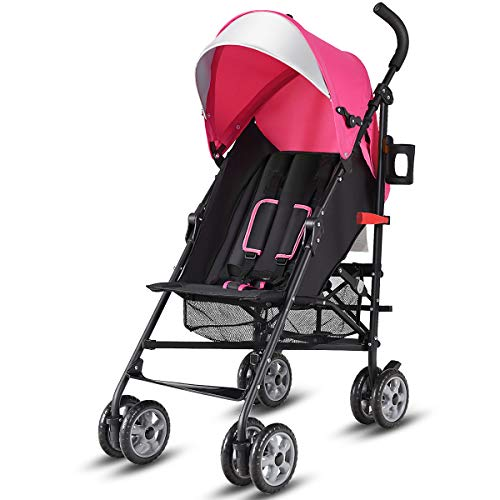 BABY JOY Lightweight Stroller, Aluminum Baby Umbrella Convenience Stroller, Travel Foldable Design with Oxford Canopy/ 5-Point Harness/Cup Holder/Storage Basket, ()