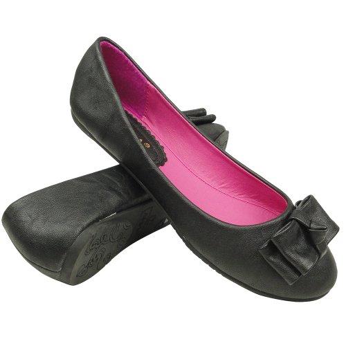 Womens Ballet Flats Layered Flat Bow Easy Slip On Black V8KYyxq