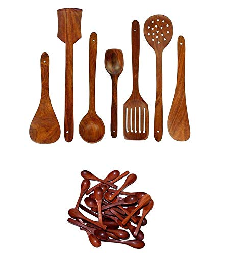 MUSSAL Wooden Handmade Kitchen Cooking Spatule Non Stick Serving Set of 7 & Condiments Masala Spoon Ice-Cream Sugar Salt Spoons Small Spoons (10 pcs)