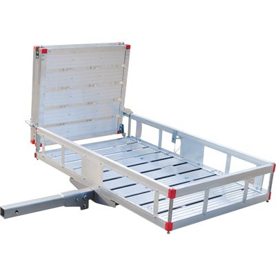 Ultra-Tow Aluminum Folding Hitch Cargo Carrier with Ramp- 500-Lb. Capacity 49inL x 29 1/2inW by Ultra-Tow