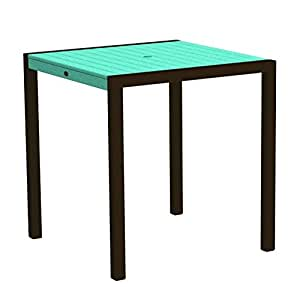 "37"" Outdoor Recycled Earth-Friendly Counter Table- Aruba Green with Bronze Frame"