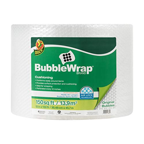 "Duck Brand Bubble Wrap Roll, 3/16"" Original Bubble Cushioning, 12"" x 150', Perforated Every 12"" (284054)"