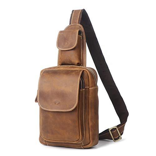 L'eau Imperméable Sacs Bandoulière Houyazhan En Dark Portable Pour Cuir Sac Brown À color Messenger Brown Hommes qqzUwYX