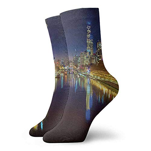 Men Novelty City Night in Melbourne River Unisex Men's & Womens Socks
