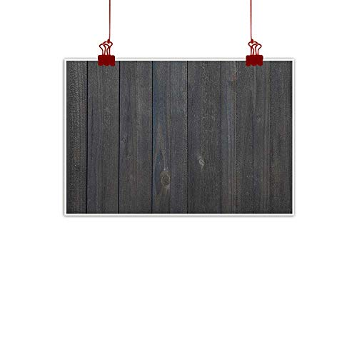 Outdoor Nature Inspiration Poster Wilderness Dark Grey,Wood Fence Texture Image Rough Rustic Weathered Surface Timber Oak Planks, Dark Grey Blue 48