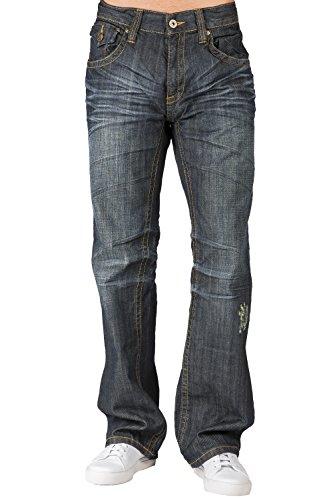 Level 7 Mens Relaxed Bootcut Dark Vintage Premium Denim Jean Zipper Trim Pocket