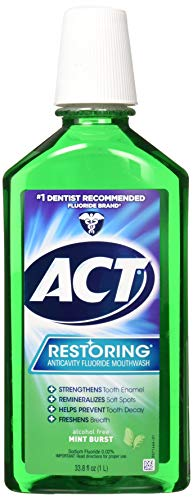 ACT Restoring Anticavity Fluoride Mouthwash, Mint Burst, 33.8 Fl Oz (Best Mouthwash For Enamel)