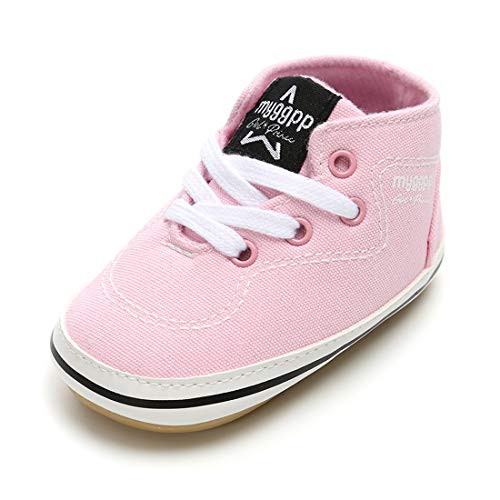 RVROVIC Baby Boys Girls Shoes Canvas Toddler Sneakers Anti-Slip Infant First Walkers 0-18 Months (13cm (12-18months), 6-Pink) by RVROVIC (Image #1)