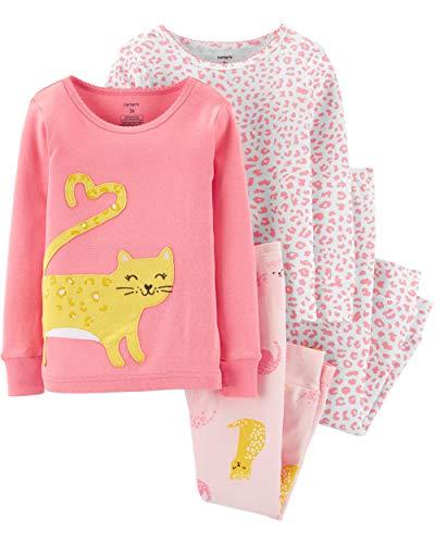 Carter's Toddler and Baby Girls' 4 Piece Cotton Pajama Set, Cat, 3T