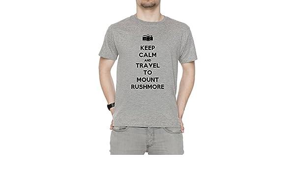 Keep Calm and Travel To Mount Rushmore Hombre Camiseta Cuello Redondo Gris Manga Corta Tamaño XXL Mens Grey XX-Large Size XXL: Amazon.es: Ropa y accesorios