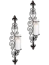 set of two decorative modern black metal wall sconce and crackle finished hurricane candle holders