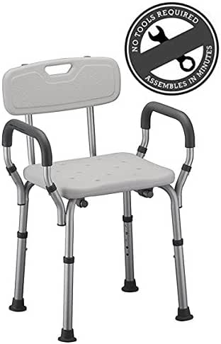 Medical Tool-free Spa Bathtub Shower Lift Chair, Portable Bath Seat, Adjustable Shower Bench, White Bathtub Lift Chair with Arms