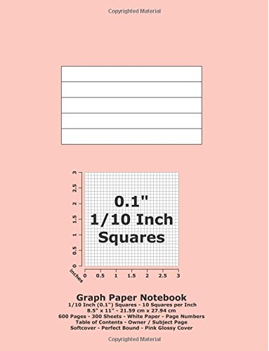"""Graph Paper Notebook: 0.1 Inch (1/10"""") Squares; 8.5"""" x 11""""; 21.6 cm x 27.9 cm; 600 Pages; 300 Sheets; White Paper; Page Numbers; Table of Contents; Quadrille; Grid; Pink Glossy Cover pdf epub"""