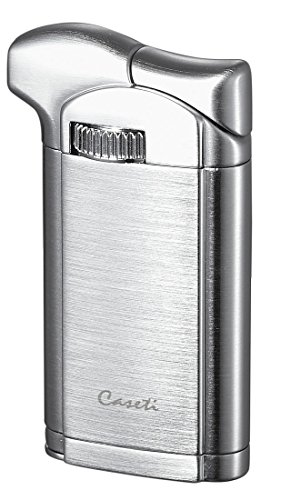 Visol Products Caseti Felix Brushed Chrome Soft Flame Pipe Lighter with Tamper