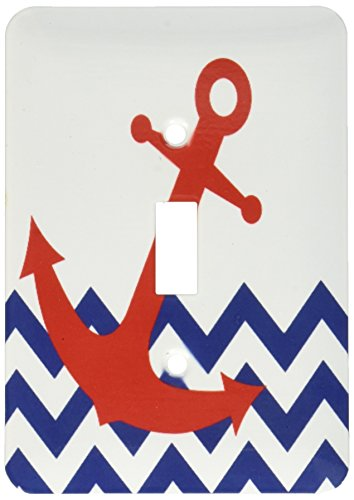3dRose lsp_165791_1 Red Nautical Boat Anchor on Chevron Patt
