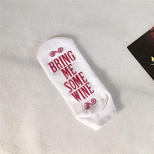 Calcetines de regalo para mujer con texto en ingl/ésIf You Can Read This Bring Me a Glass Of Wine Socks blanco