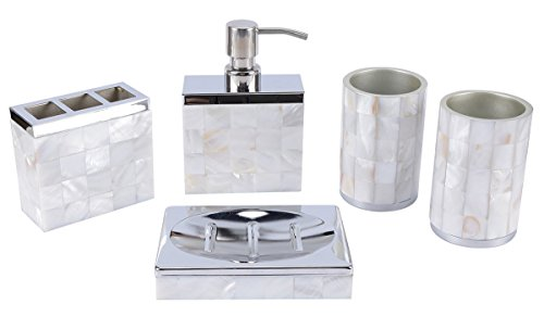 AIMONE 5 Pcs Bathroom Accessories Set Natural Mother of Pearl White Sea (Modern White Mother Of Pearl)