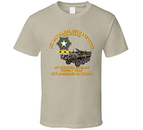 LARGE - Army - 1st Bn 36th Infantry - 1st Stryker Bde Cbt Tm - 1st Ar Div T Shirt - Tan ()