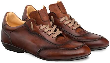 Mezlan Tivoli Mens Fashion Sneaker - Burnished Uppers with Contoured Leather Sole - Made of Spanish Calfskin - Handcrafted in Spain - Medium Width (13, Cognac)
