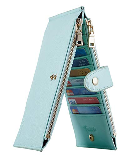 Travelambo Womens Walllet RFID Blocking Bifold Multi Card Case Wallet with Zipper Pocket (CH Gold Greenery 7004F) - Flat Wallet Purse