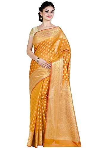 Chandrakala Women's Gold Cotton Silk Blend Banarasi Saree,Free -