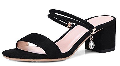 Aisun Women's Comfy Open Toe Mid Chunky Heels Sandals Black